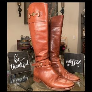 Tory Burch Nadine Brown Leather Riding Boots 7.5
